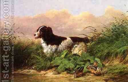 Setter and Woodcock by Arthur Fitzwilliam Tait - Reproduction Oil Painting