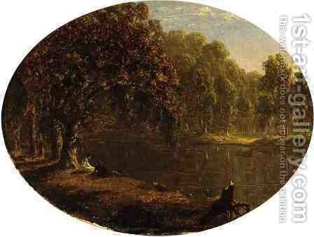 The River-Bank by Sanford Robinson Gifford - Reproduction Oil Painting