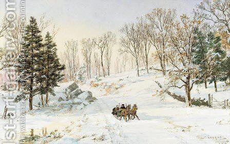 Winter on Rivensdale Road, Hastings-on-Hudson, New York by Jasper Francis Cropsey - Reproduction Oil Painting