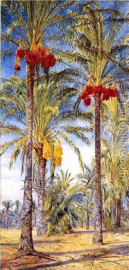 Date Trees, Ramleh, Egypt by Henry Roderick Newman - Reproduction Oil Painting