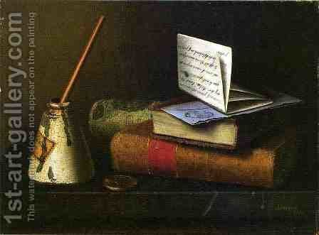 Still Life with Letter to Mr. Lask by William Michael Harnett - Reproduction Oil Painting