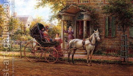 Stopping for a Chat by Edward Lamson Henry - Reproduction Oil Painting