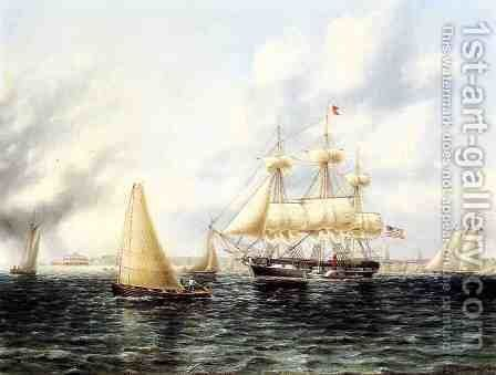 New York Harbor I by James E. Buttersworth - Reproduction Oil Painting