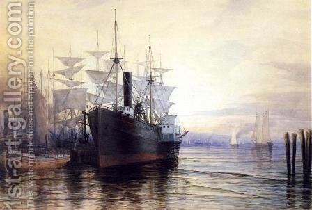 Sunset, New York Harbor by Henry Farrer - Reproduction Oil Painting