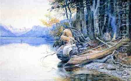 A Campsite by the Lake by Charles Marion Russell - Reproduction Oil Painting