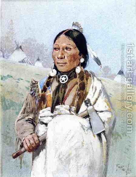 Indian with Tomahawk by Henry Farny - Reproduction Oil Painting