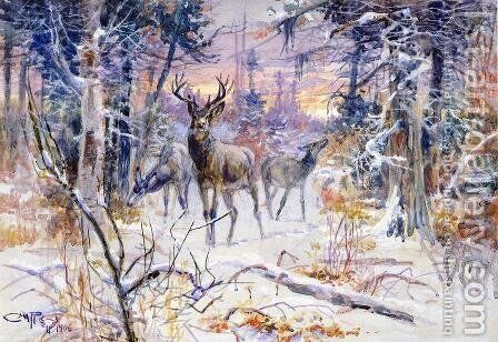Deer in a Snowy Forest by Charles Marion Russell - Reproduction Oil Painting