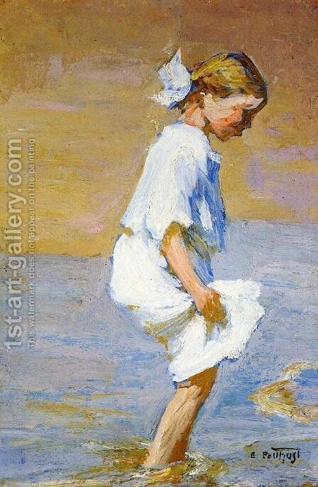 Wading at the Shore by Edward Henry Potthast - Reproduction Oil Painting