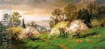 Flowering Trees by Jasper Francis Cropsey - Reproduction Oil Painting