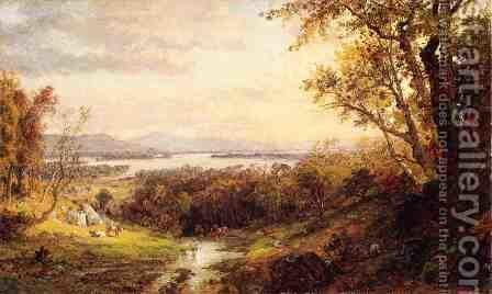 View of the Hudson I by Jasper Francis Cropsey - Reproduction Oil Painting