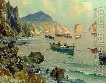 Boats in a Rocky Cove by Edward Henry Potthast - Reproduction Oil Painting
