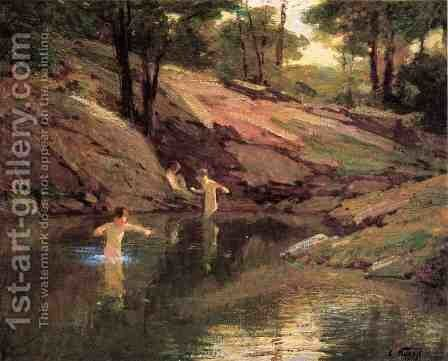 The Swimming Hole by Edward Henry Potthast - Reproduction Oil Painting