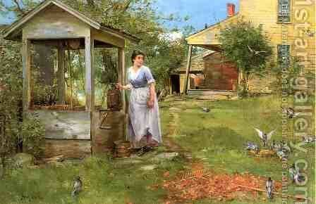 At the Well by Henry Bacon - Reproduction Oil Painting