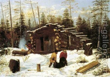 Bringing Home Game: Winter Shanty at Ragged Lake by Arthur Fitzwilliam Tait - Reproduction Oil Painting