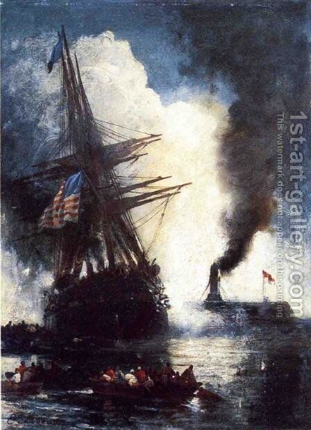 The Merrimac Sinks the Cumberland by Edward Moran - Reproduction Oil Painting