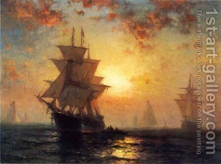 Ships at Night by Edward Moran - Reproduction Oil Painting