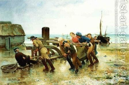 Hauling a Ship by Henry Bacon - Reproduction Oil Painting