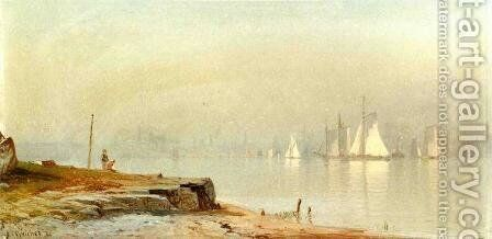 Harbor Scene and White Sails by Alfred Thompson Bricher - Reproduction Oil Painting