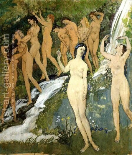 Ten Nudes by a Waterfall by Arthur Bowen Davies - Reproduction Oil Painting
