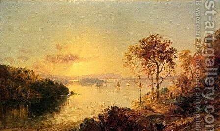 Figures on the Hudson River by Jasper Francis Cropsey - Reproduction Oil Painting