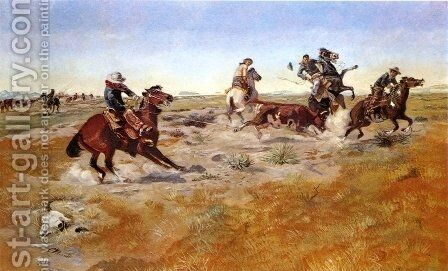 The Judith Basin Roundup by Charles Marion Russell - Reproduction Oil Painting