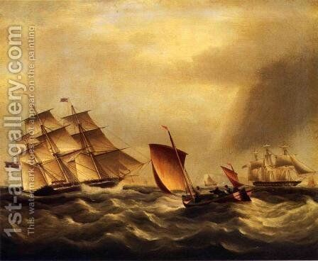 Shipping in Rough Seas by James E. Buttersworth - Reproduction Oil Painting