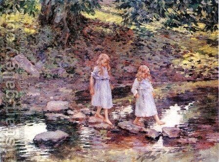 Stepping Stones by Theodore Robinson - Reproduction Oil Painting