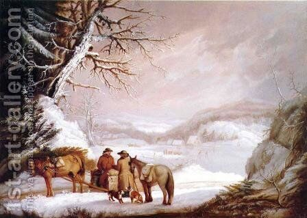 A Meeting by a River by Alvan Fisher - Reproduction Oil Painting