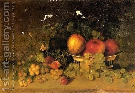 Still Life with Apples, Grapes, Figs and Plums by Mary Jane Peale - Reproduction Oil Painting