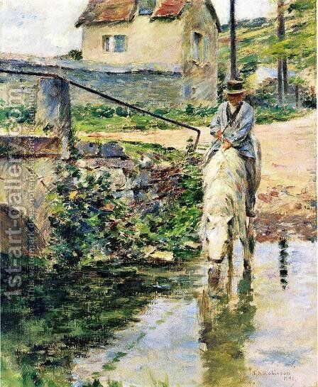 The Watering Place by Theodore Robinson - Reproduction Oil Painting