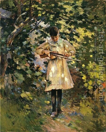 The Young Violinist by Theodore Robinson - Reproduction Oil Painting