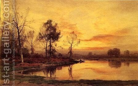 On the River by Henry Farrer - Reproduction Oil Painting