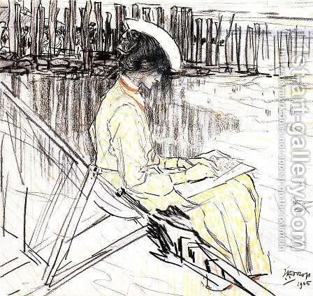 Portrait of Emma Bellwidt on the Beach at Domburg by Jan Toorop - Reproduction Oil Painting