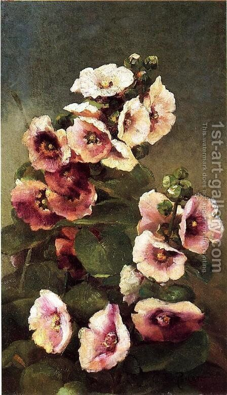Pink Hollyhocks by Charles Ethan Porter - Reproduction Oil Painting