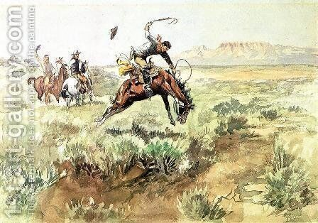 Bronco Busting by Charles Marion Russell - Reproduction Oil Painting