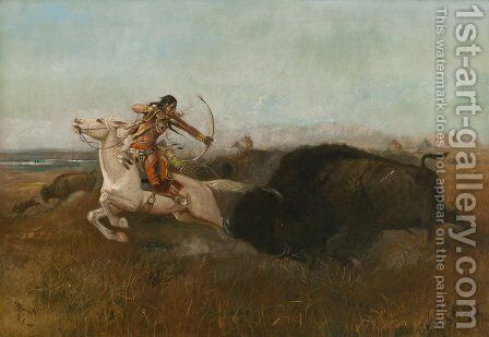 Indians Hunting Buffalo by Charles Marion Russell - Reproduction Oil Painting