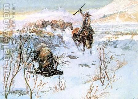 Christmas Dinner for the Men on the Trail by Charles Marion Russell - Reproduction Oil Painting