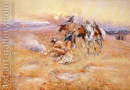 Blackfeet Burning Crow Buffalo Range by Charles Marion Russell - Reproduction Oil Painting