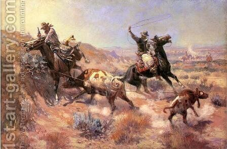 A Serious Predicament by Charles Marion Russell - Reproduction Oil Painting