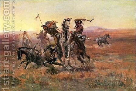 When Blackfeet and Sioux Meet by Charles Marion Russell - Reproduction Oil Painting