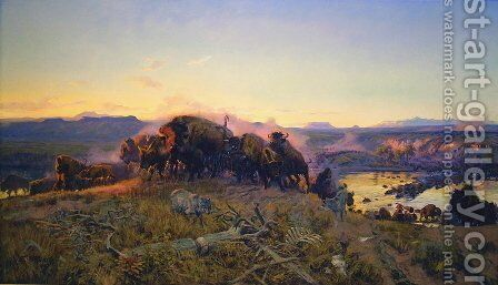 When the Land Belonged to God by Charles Marion Russell - Reproduction Oil Painting