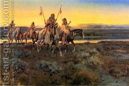 Piegans by Charles Marion Russell - Reproduction Oil Painting