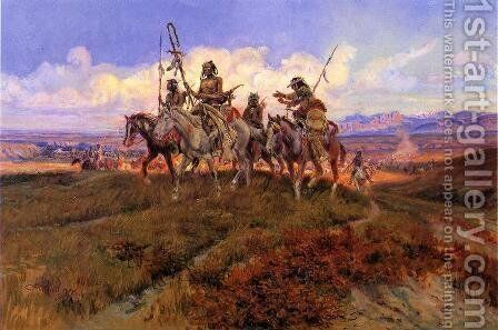 The Wolfmen by Charles Marion Russell - Reproduction Oil Painting