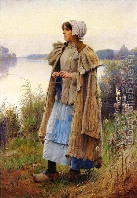 Knitting in the Fields by Charles Sprague Pearce - Reproduction Oil Painting