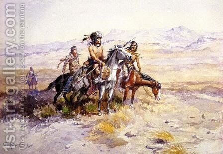 In Enemy Country by Charles Marion Russell - Reproduction Oil Painting