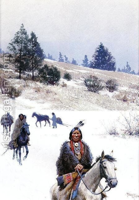 Indians in Winter - Moving Camp by Henry Farny - Reproduction Oil Painting