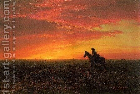 On the Plains, Sunset by Albert Bierstadt - Reproduction Oil Painting