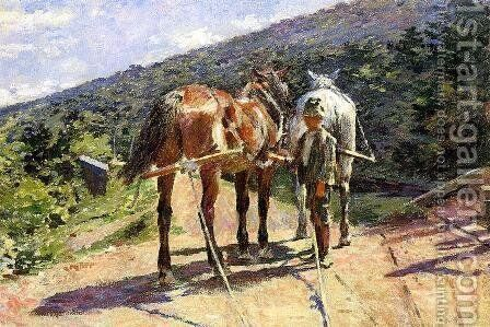 On the Tow-Path - A Halt by Theodore Robinson - Reproduction Oil Painting