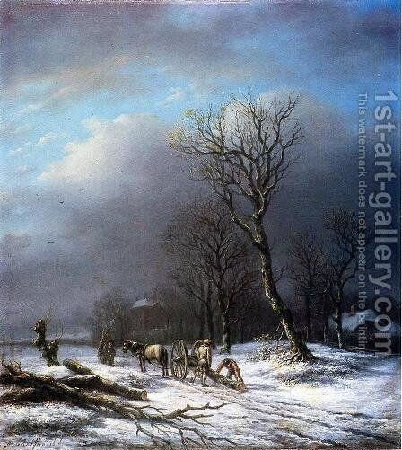 follower by Andreas Schelfhout - Reproduction Oil Painting