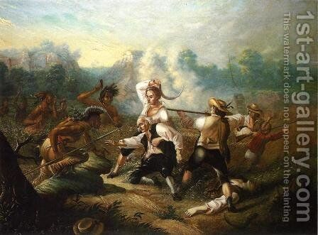 Massacre at Wyoming Valley by Carl (Charles Ferdinand) Wimar - Reproduction Oil Painting